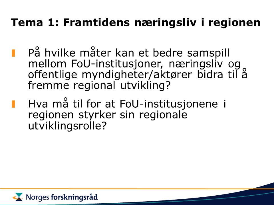 Tema 1: Framtidens næringsliv i regionen På hvilke måter kan et bedre samspill mellom FoU-institusjoner, næringsliv og offentlige myndigheter/aktører bidra til å fremme regional utvikling.