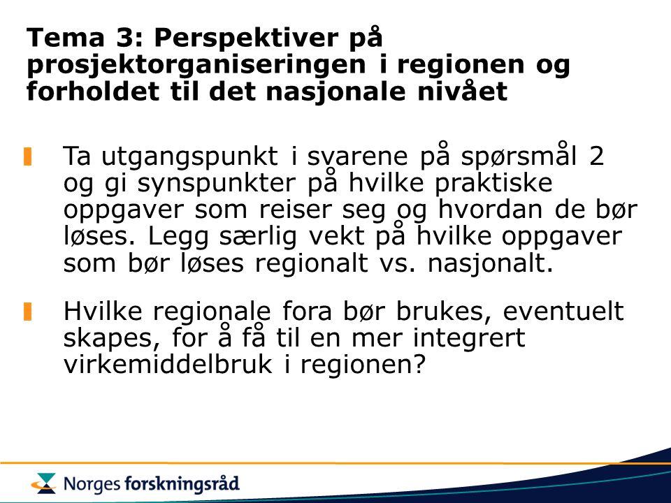 Tema 3: Perspektiver på prosjektorganiseringen i regionen og forholdet til det nasjonale nivået Ta utgangspunkt i svarene på spørsmål 2 og gi synspunkter på hvilke praktiske oppgaver som reiser seg og hvordan de bør løses.