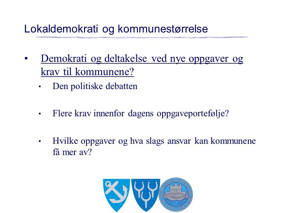 Lokaldemokrati og kommunestørrelse Demokrati og deltakelse ved nye oppgaver og krav til kommunene.
