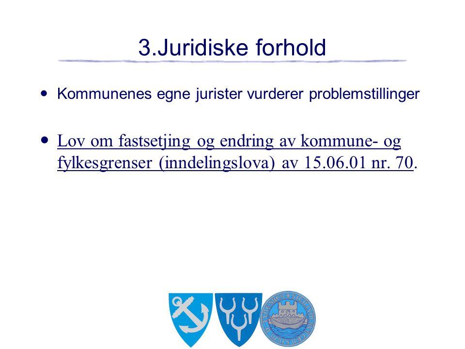 3.Juridiske forhold Kommunenes egne jurister vurderer problemstillinger Lov om fastsetjing og endring av kommune- og fylkesgrenser (inndelingslova) av 15.06.01 nr.