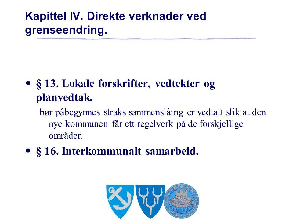 Kapittel IV. Direkte verknader ved grenseendring.