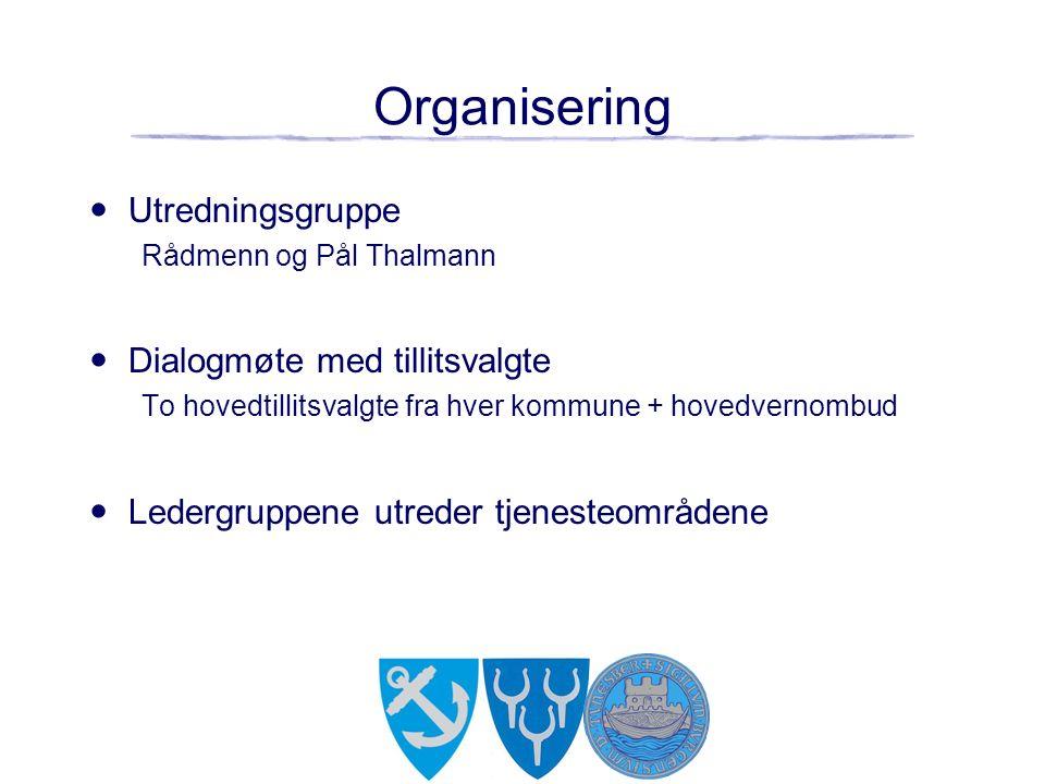 Organisering Utredningsgruppe Rådmenn og Pål Thalmann Dialogmøte med tillitsvalgte To hovedtillitsvalgte fra hver kommune + hovedvernombud Ledergruppene utreder tjenesteområdene