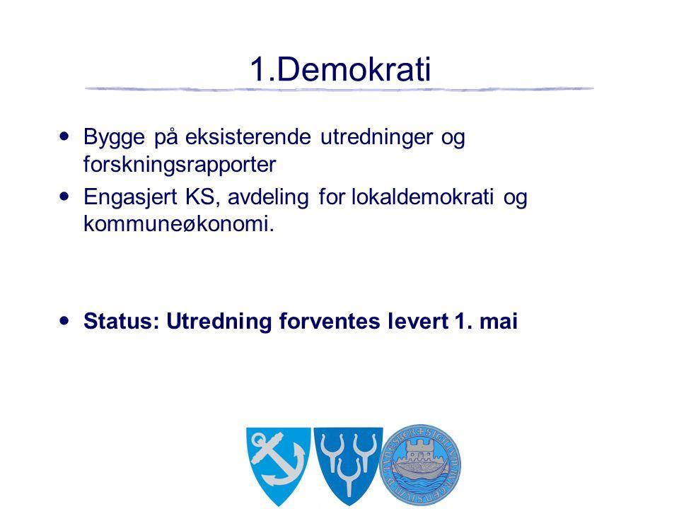 1.Demokrati Bygge på eksisterende utredninger og forskningsrapporter Engasjert KS, avdeling for lokaldemokrati og kommuneøkonomi.