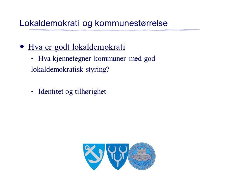 Lokaldemokrati og kommunestørrelse Hva er godt lokaldemokrati Hva kjennetegner kommuner med god lokaldemokratisk styring.
