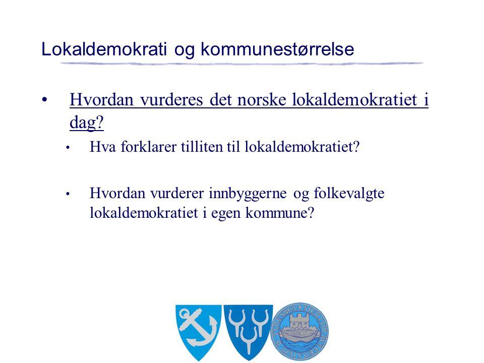 Lokaldemokrati og kommunestørrelse Hvordan vurderes det norske lokaldemokratiet i dag.