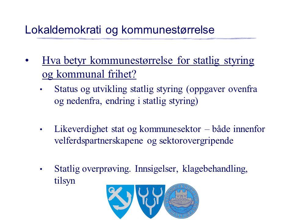 Lokaldemokrati og kommunestørrelse Hva betyr kommunestørrelse for statlig styring og kommunal frihet.