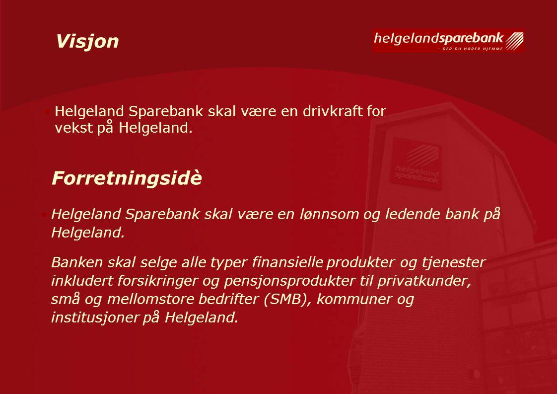 Visjon Helgeland Sparebank skal være en lønnsom og ledende bank på Helgeland. Banken skal selge alle typer finansielle produkter og tjenester inkluder