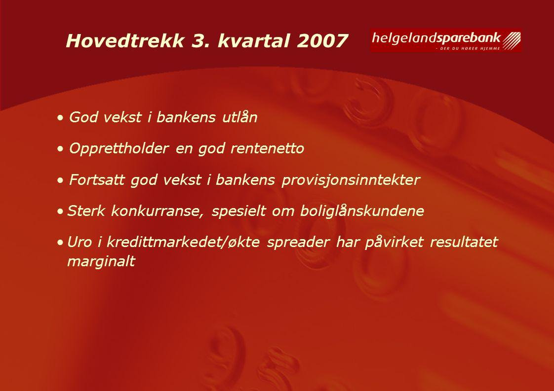 Hovedtrekk 3. kvartal 2007 God vekst i bankens utlån Opprettholder en god rentenetto Fortsatt god vekst i bankens provisjonsinntekter Sterk konkurrans