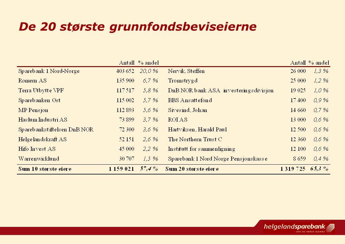 De 20 største grunnfondsbeviseierne