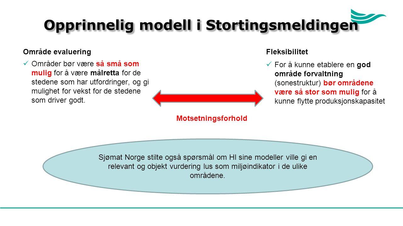 Opprinnelig modell i Stortingsmeldingen Område evaluering Områder bør være så små som mulig for å være målretta for de stedene som har utfordringer, og gi mulighet for vekst for de stedene som driver godt.