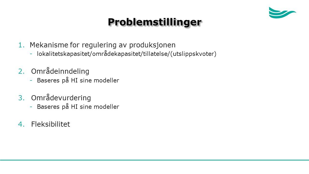 ProblemstillingerProblemstillinger 1.Mekanisme for regulering av produksjonen -lokalitetskapasitet/områdekapasitet/tillatelse/(utslippskvoter) 2.Områdeinndeling -Baseres på HI sine modeller 3.Områdevurdering -Baseres på HI sine modeller 4.Fleksibilitet