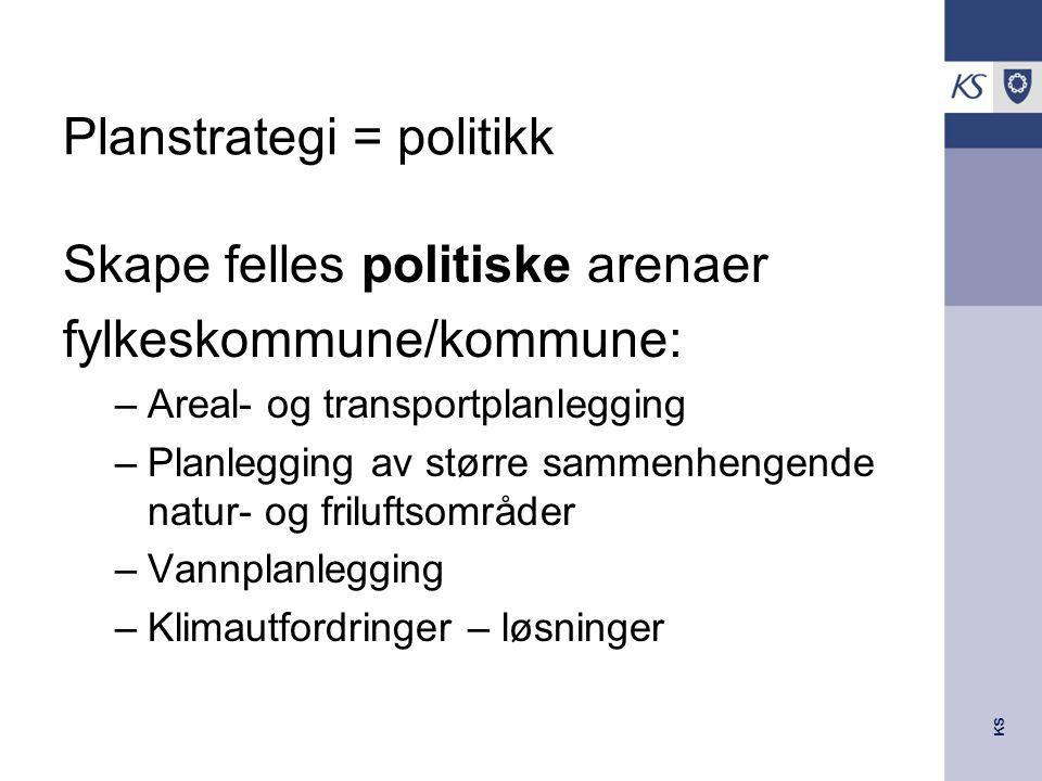 KS Planstrategi = politikk Skape felles politiske arenaer fylkeskommune/kommune: –Areal- og transportplanlegging –Planlegging av større sammenhengende natur- og friluftsområder –Vannplanlegging –Klimautfordringer – løsninger