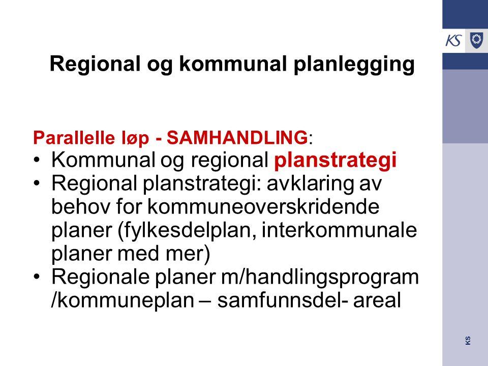 KS Regional og kommunal planlegging Parallelle løp - SAMHANDLING: Kommunal og regional planstrategi Regional planstrategi: avklaring av behov for kommuneoverskridende planer (fylkesdelplan, interkommunale planer med mer) Regionale planer m/handlingsprogram /kommuneplan – samfunnsdel- areal