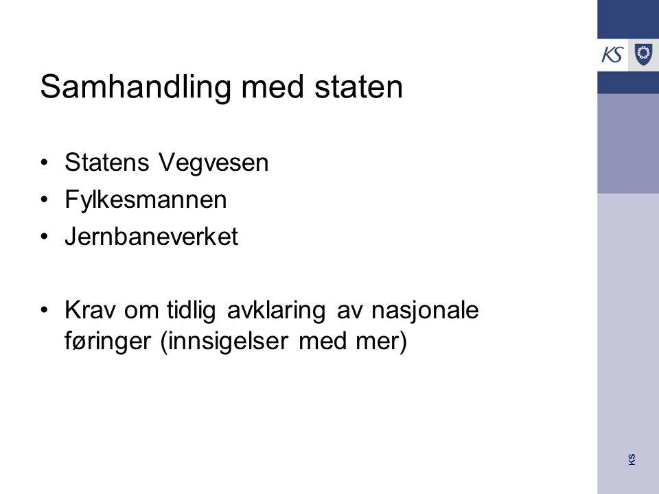 KS Samhandling med staten Statens Vegvesen Fylkesmannen Jernbaneverket Krav om tidlig avklaring av nasjonale føringer (innsigelser med mer)