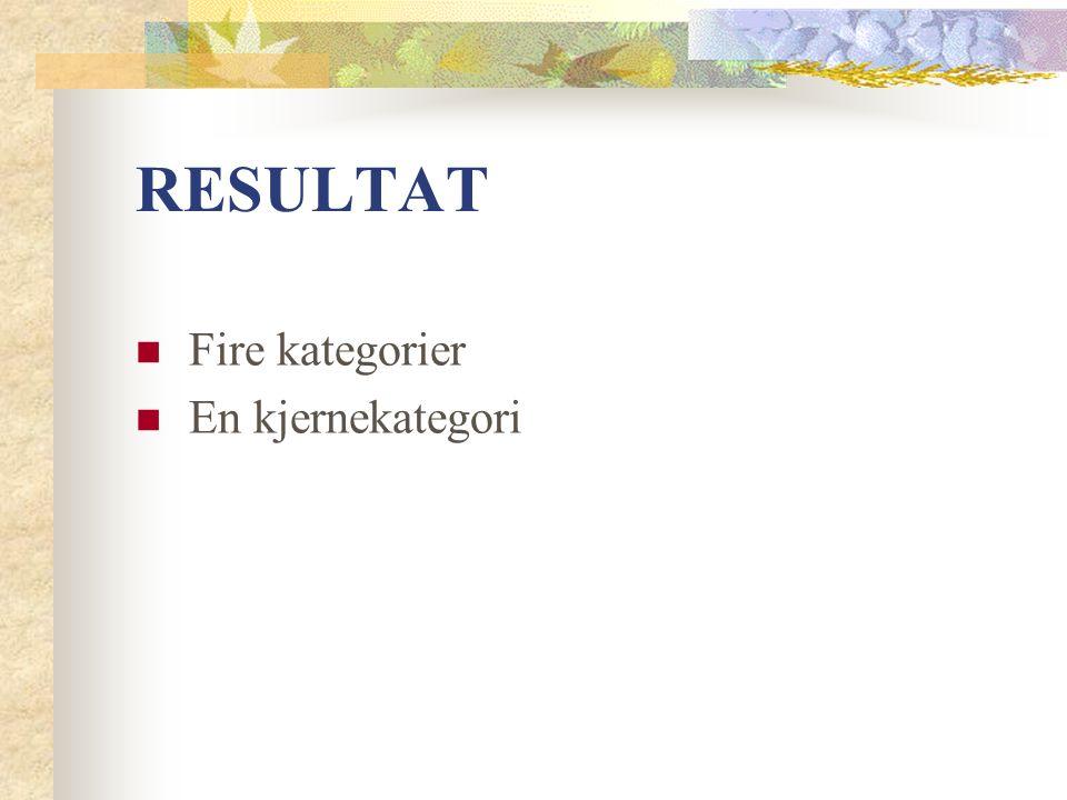 RESULTAT Fire kategorier En kjernekategori