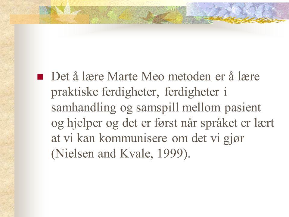 Det å lære Marte Meo metoden er å lære praktiske ferdigheter, ferdigheter i samhandling og samspill mellom pasient og hjelper og det er først når språket er lært at vi kan kommunisere om det vi gjør (Nielsen and Kvale, 1999).