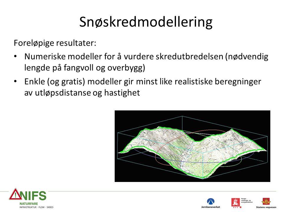 Snøskredmodellering Foreløpige resultater: Numeriske modeller for å vurdere skredutbredelsen (nødvendig lengde på fangvoll og overbygg) Enkle (og gratis) modeller gir minst like realistiske beregninger av utløpsdistanse og hastighet