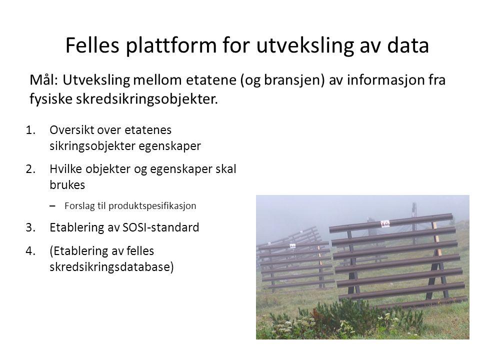 Felles plattform for utveksling av data Mål: Utveksling mellom etatene (og bransjen) av informasjon fra fysiske skredsikringsobjekter.