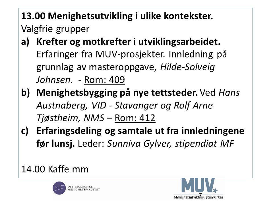 7 13.00 Menighetsutvikling i ulike kontekster. Valgfrie grupper a)Krefter og motkrefter i utviklingsarbeidet. Erfaringer fra MUV-prosjekter. Innlednin