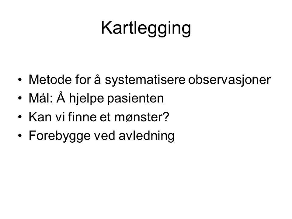 Kartlegging Metode for å systematisere observasjoner Mål: Å hjelpe pasienten Kan vi finne et mønster.