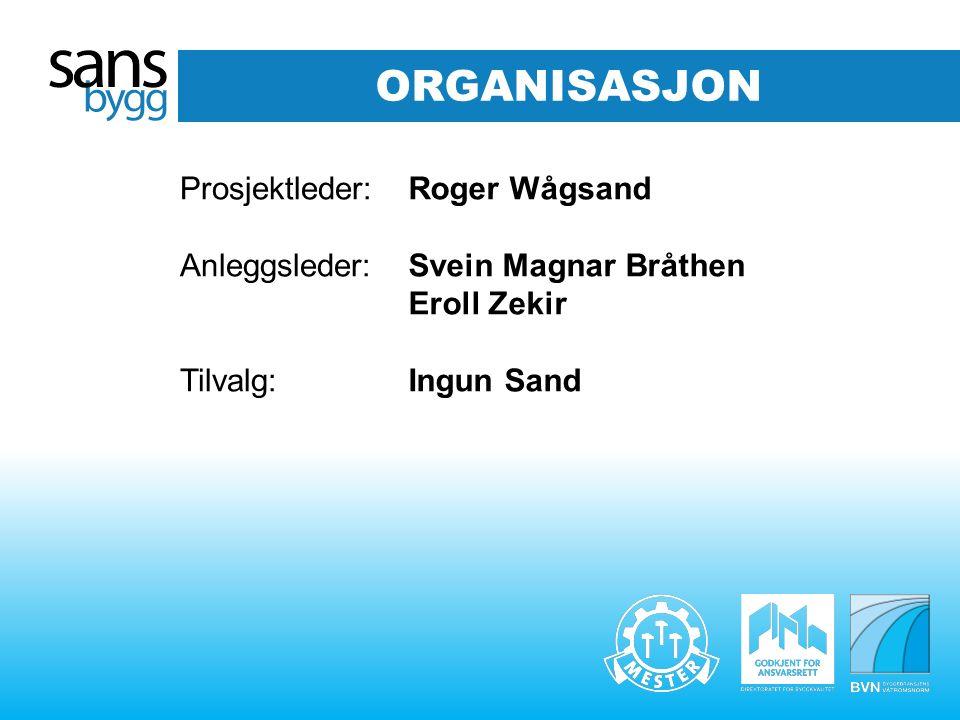 ORGANISASJON Prosjektleder: Anleggsleder: Tilvalg: Roger Wågsand Svein Magnar Bråthen Eroll Zekir Ingun Sand