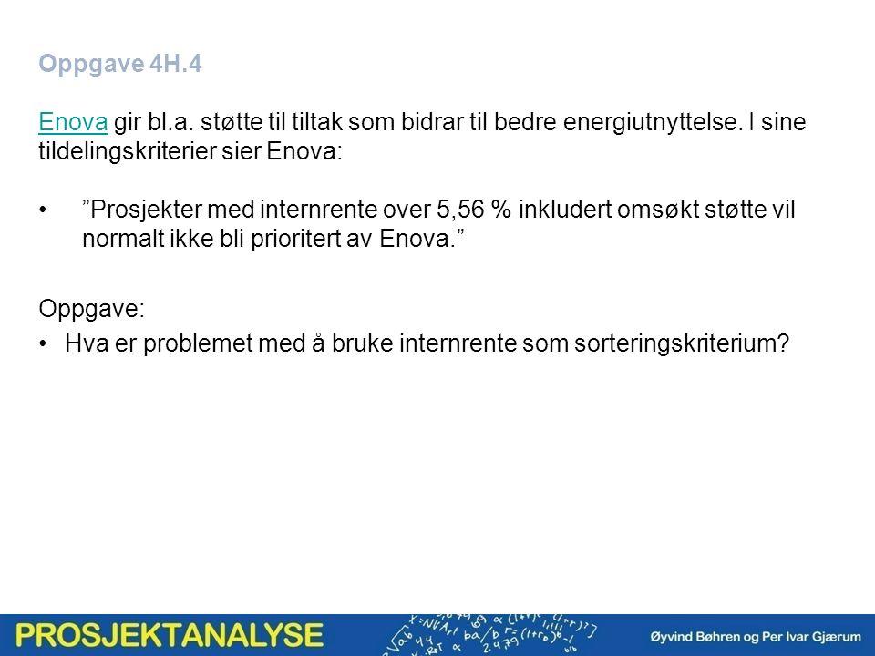 Oppgave 4H.4 EnovaEnova gir bl.a. støtte til tiltak som bidrar til bedre energiutnyttelse.