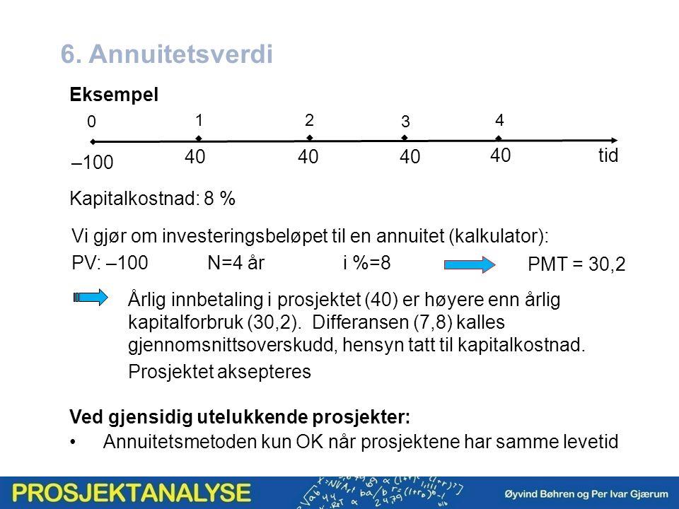 6. Annuitetsverdi Kapitalkostnad: 8 %   2 0 1  3 40 4 Eksempel Vi gjør om investeringsbeløpet til en annuitet (kalkulator): PV: –100N=4 åri %=8 PMT