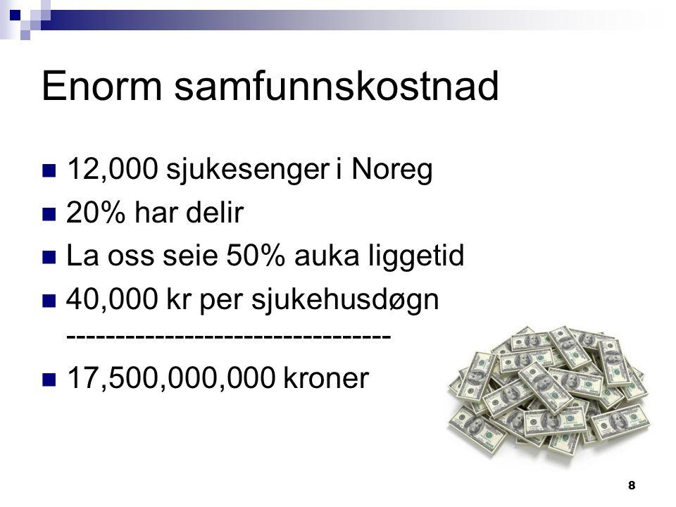 8 Enorm samfunnskostnad 12,000 sjukesenger i Noreg 20% har delir La oss seie 50% auka liggetid 40,000 kr per sjukehusdøgn ----------------------------