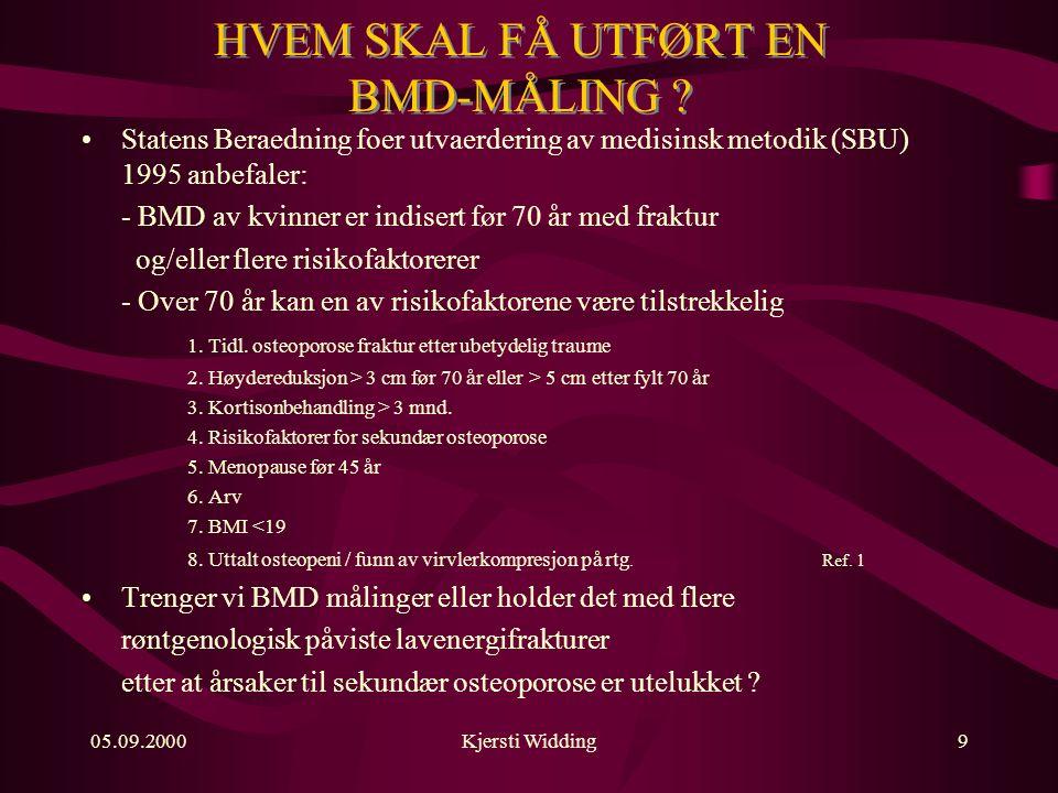 05.09.2000Kjersti Widding9 HVEM SKAL FÅ UTFØRT EN BMD-MÅLING .