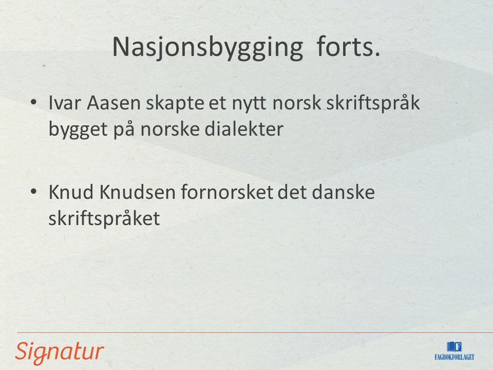 Nasjonsbygging forts.