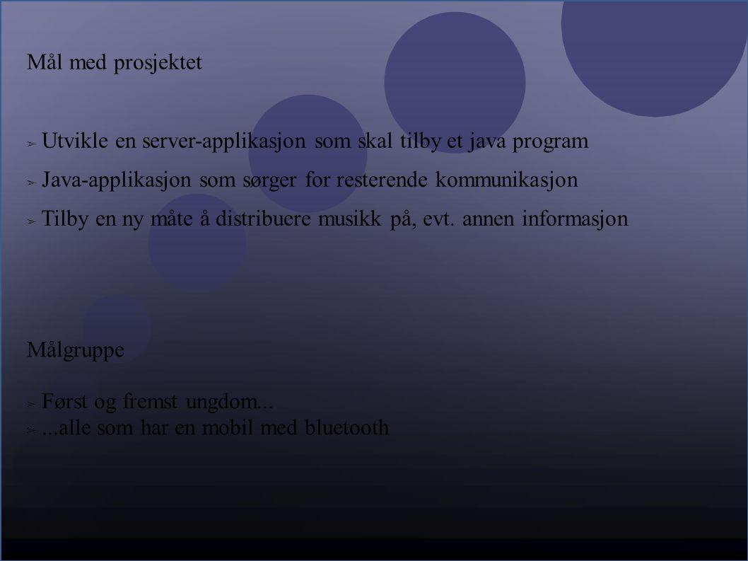 Mål med prosjektet ➢ Utvikle en server-applikasjon som skal tilby et java program ➢ Java-applikasjon som sørger for resterende kommunikasjon ➢ Tilby en ny måte å distribuere musikk på, evt.