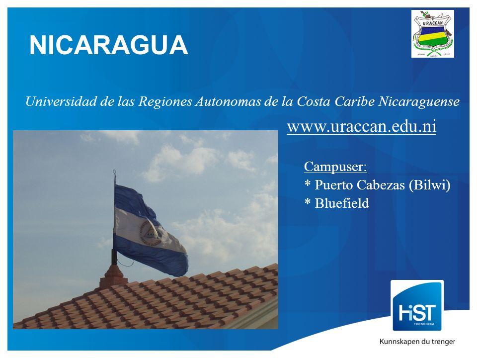 NICARAGUA Universidad de las Regiones Autonomas de la Costa Caribe Nicaraguense www.uraccan.edu.ni Campuser: * Puerto Cabezas (Bilwi) * Bluefield