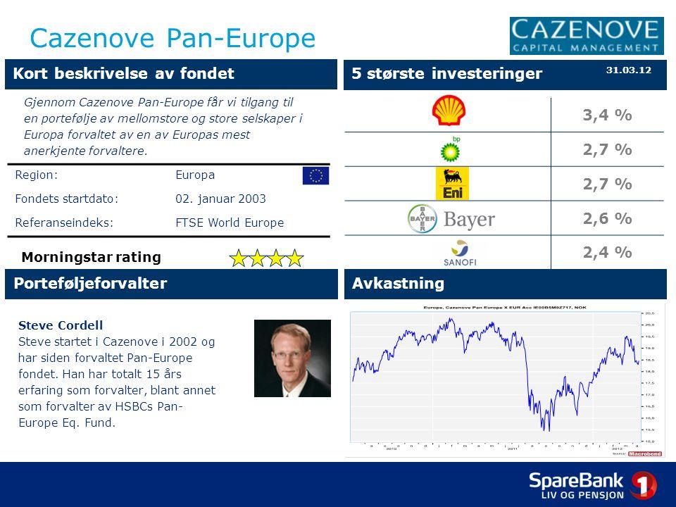 Cazenove Pan-Europe Steve Cordell Steve startet i Cazenove i 2002 og har siden forvaltet Pan-Europe fondet.