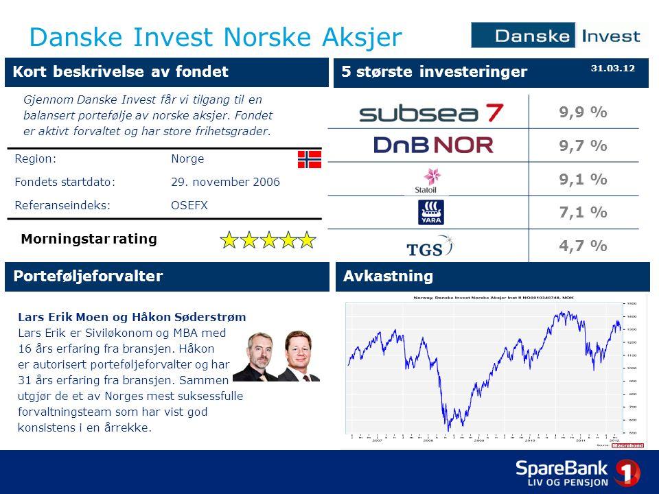 Danske Invest Norske Aksjer Lars Erik Moen og Håkon Søderstrøm Lars Erik er Siviløkonom og MBA med 16 års erfaring fra bransjen.