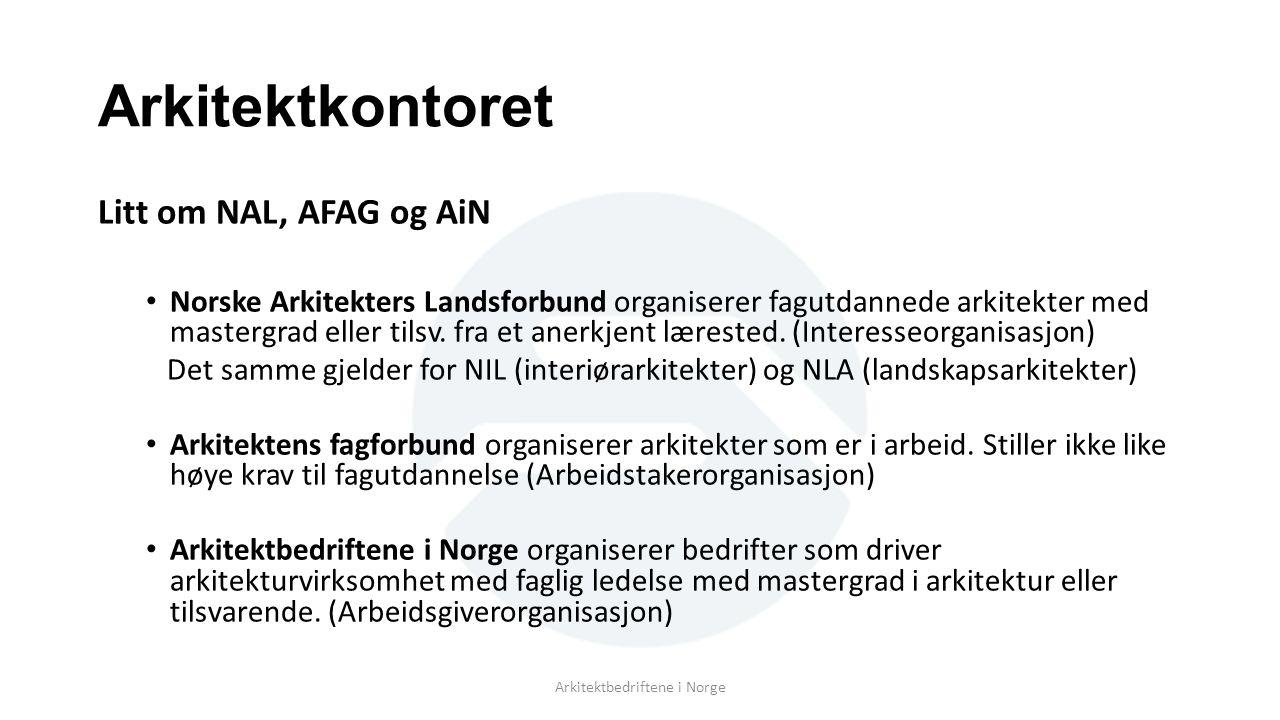 Arkitektkontoret Litt om NAL, AFAG og AiN Norske Arkitekters Landsforbund organiserer fagutdannede arkitekter med mastergrad eller tilsv. fra et anerk