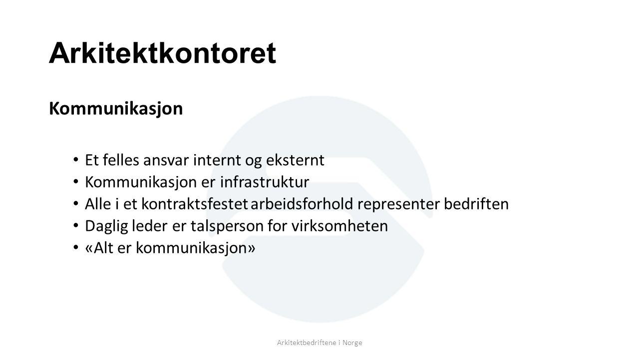Arkitektkontoret Kommunikasjon Et felles ansvar internt og eksternt Kommunikasjon er infrastruktur Alle i et kontraktsfestet arbeidsforhold represente