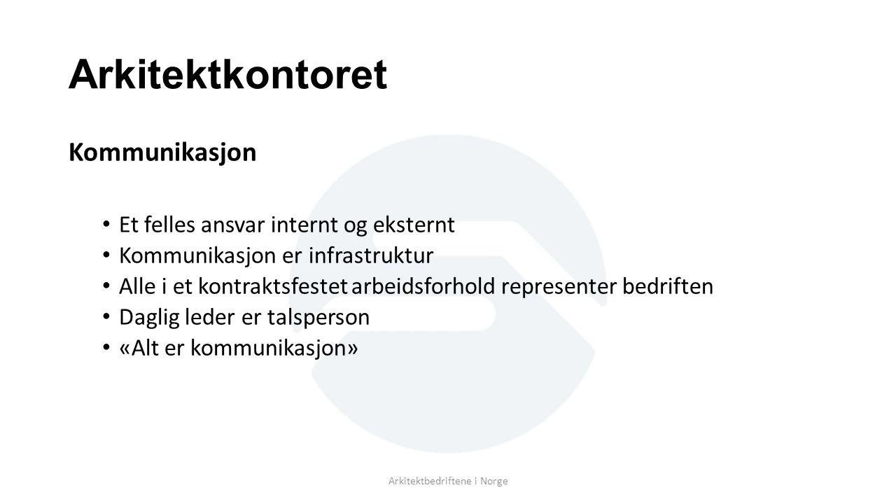 Arkitektkontoret Kommunikasjon Et felles ansvar internt og eksternt Kommunikasjon er infrastruktur Alle i et kontraktsfestet arbeidsforhold representer bedriften Daglig leder er talsperson «Alt er kommunikasjon» Arkitektbedriftene i Norge