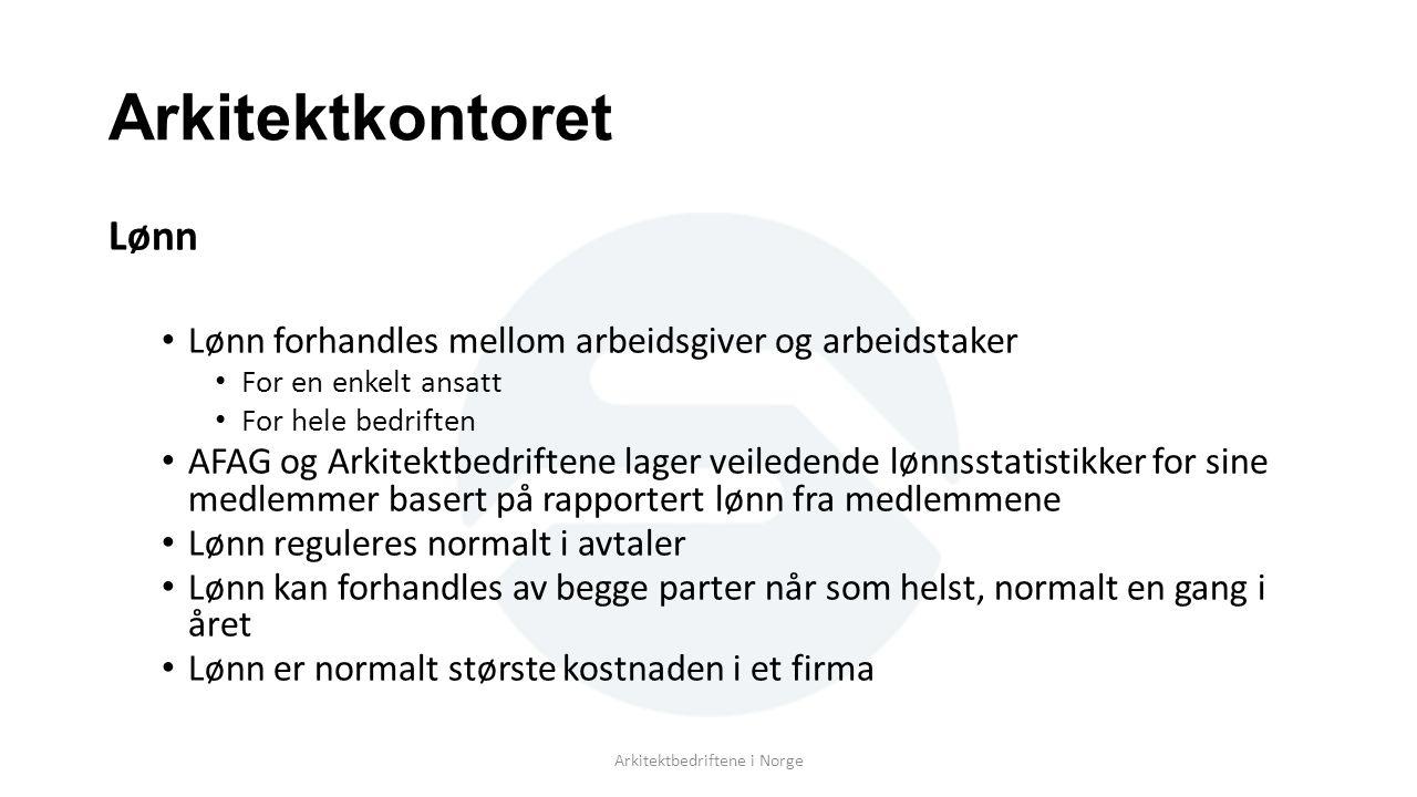 Arkitektkontoret Lønn Lønn forhandles mellom arbeidsgiver og arbeidstaker For en enkelt ansatt For hele bedriften AFAG og Arkitektbedriftene lager veiledende lønnsstatistikker for sine medlemmer basert på rapportert lønn fra medlemmene Lønn reguleres normalt i avtaler Lønn kan forhandles av begge parter når som helst, normalt en gang i året Lønn er normalt største kostnaden i et firma Arkitektbedriftene i Norge