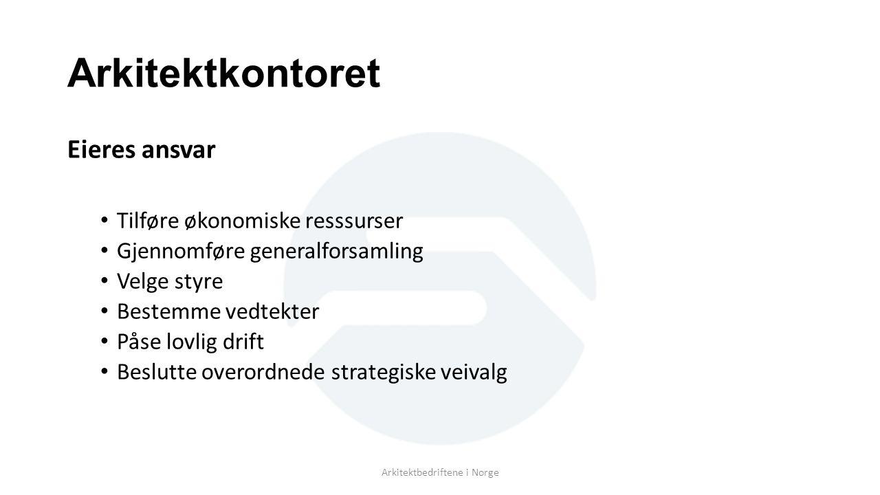 Arkitektkontoret Eieres ansvar Tilføre økonomiske resssurser Gjennomføre generalforsamling Velge styre Bestemme vedtekter Påse lovlig drift Beslutte overordnede strategiske veivalg Arkitektbedriftene i Norge