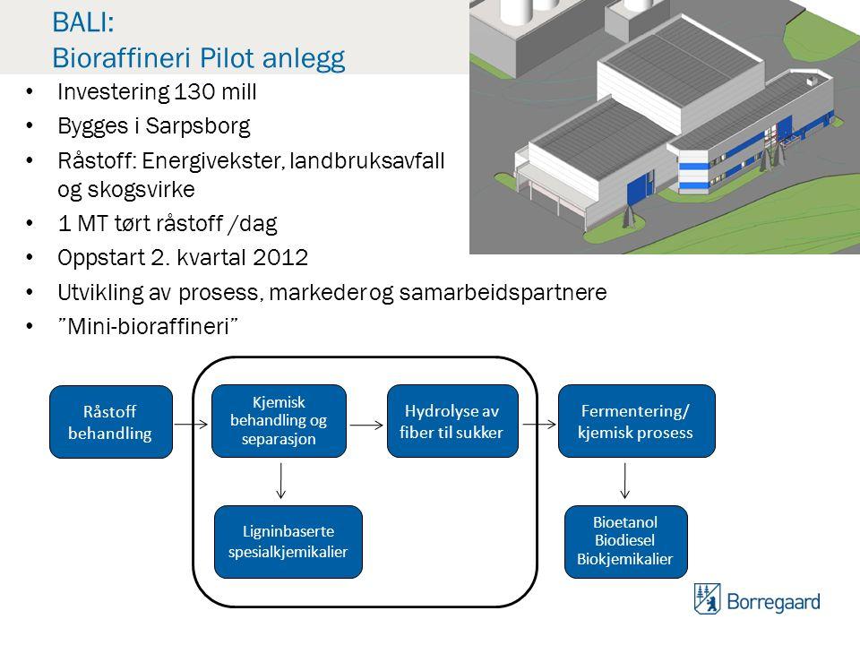 BALI: Bioraffineri Pilot anlegg Investering 130 mill Bygges i Sarpsborg Råstoff: Energivekster, landbruksavfall og skogsvirke 1 MT tørt råstoff /dag Oppstart 2.