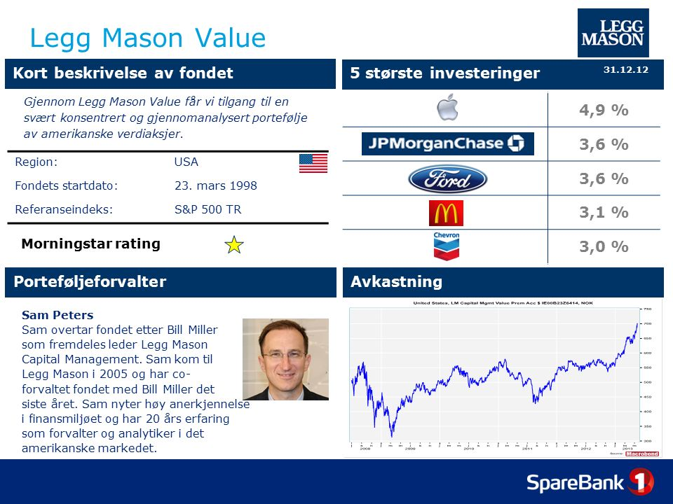 Legg Mason Value Sam Peters Sam overtar fondet etter Bill Miller som fremdeles leder Legg Mason Capital Management.