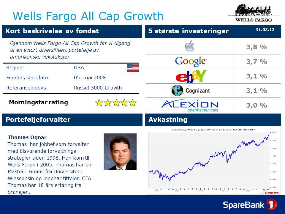 Wells Fargo All Cap Growth Thomas Ognar Thomas har jobbet som forvalter med tilsvarende forvaltnings- strategier siden 1998.