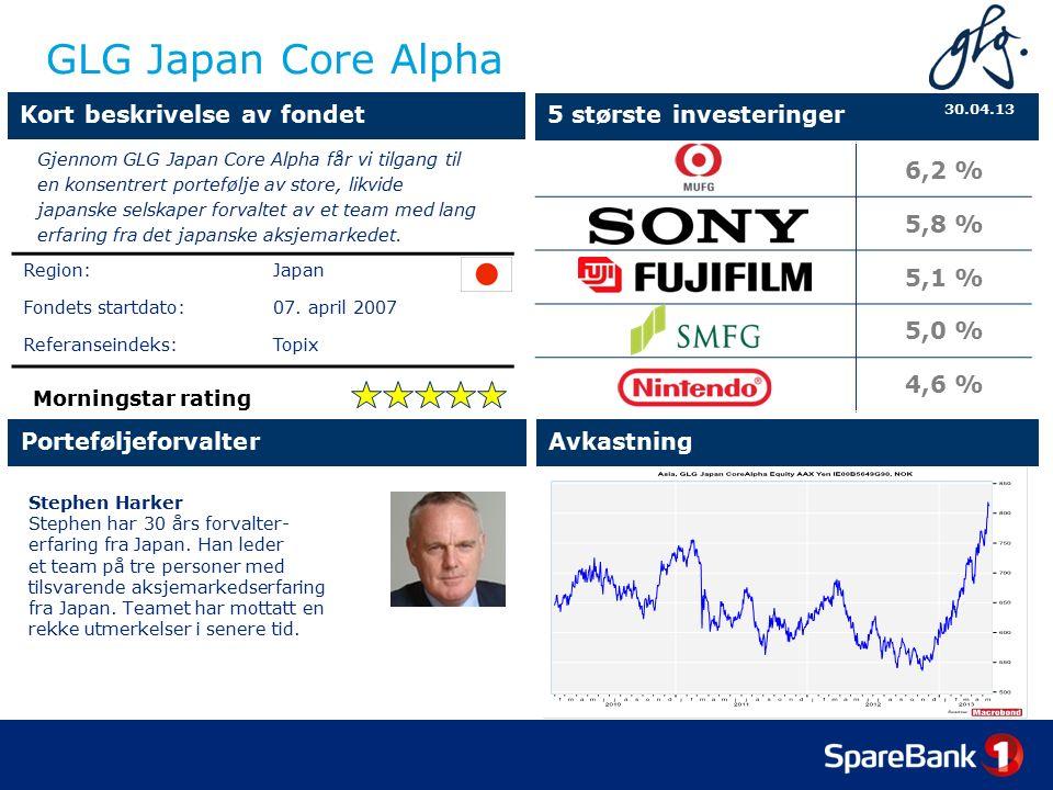 GLG Japan Core Alpha Stephen Harker Stephen har 30 års forvalter- erfaring fra Japan.