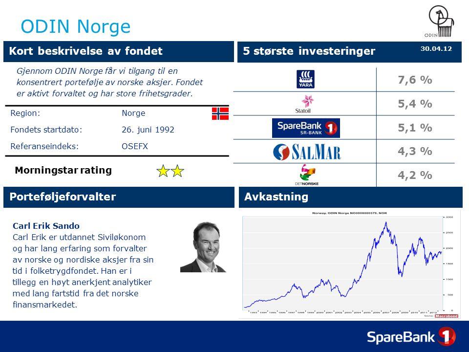 ODIN Norge Carl Erik Sando Carl Erik er utdannet Siviløkonom og har lang erfaring som forvalter av norske og nordiske aksjer fra sin tid i folketrygdfondet.