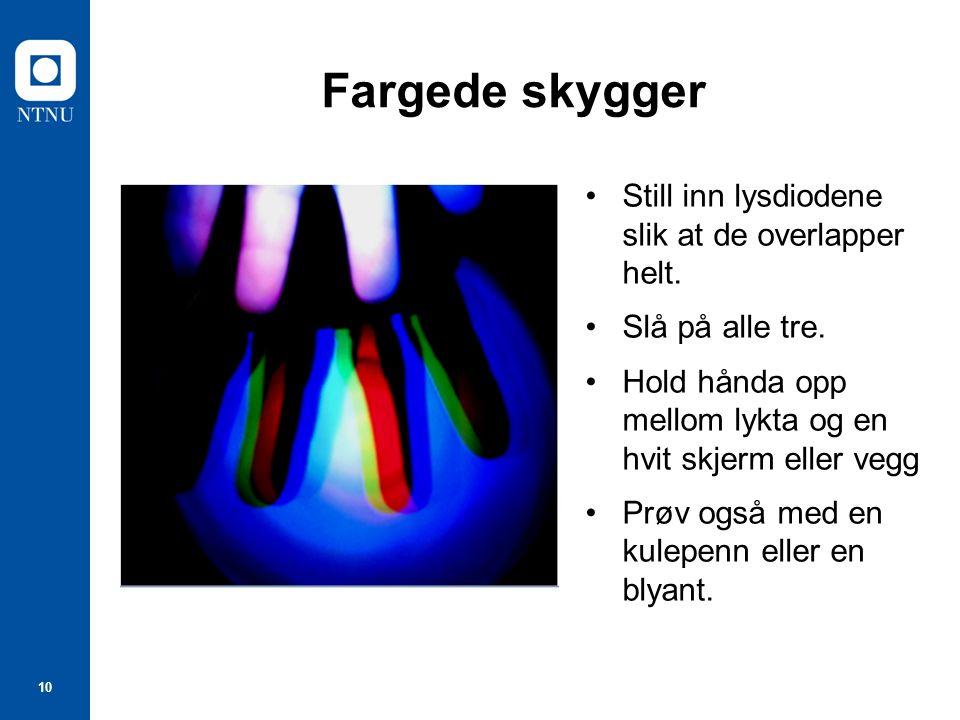 10 Fargede skygger Still inn lysdiodene slik at de overlapper helt.