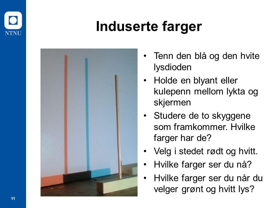 11 Induserte farger Tenn den blå og den hvite lysdioden Holde en blyant eller kulepenn mellom lykta og skjermen Studere de to skyggene som framkommer.