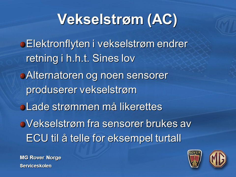 MG Rover Norge Serviceskolen Vekselstrøm (AC) Elektronflyten i vekselstrøm endrer retning i h.h.t. Sines lov Alternatoren og noen sensorer produserer