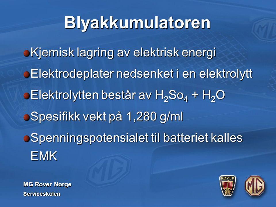 MG Rover Norge Serviceskolen Blyakkumulatoren Kjemisk lagring av elektrisk energi Elektrodeplater nedsenket i en elektrolytt Elektrolytten består av H 2 So 4 + H 2 O Spesifikk vekt på 1,280 g/ml Spenningspotensialet til batteriet kalles EMK