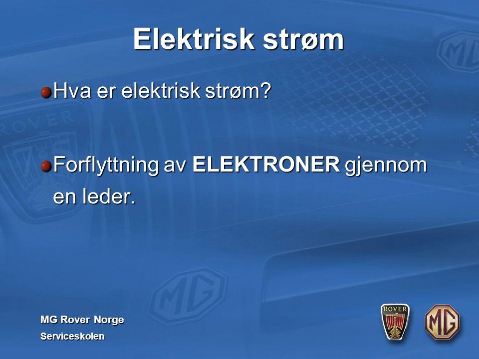 MG Rover Norge Serviceskolen Elektrisk strøm Hva er elektrisk strøm? Forflyttning av ELEKTRONER gjennom en leder.