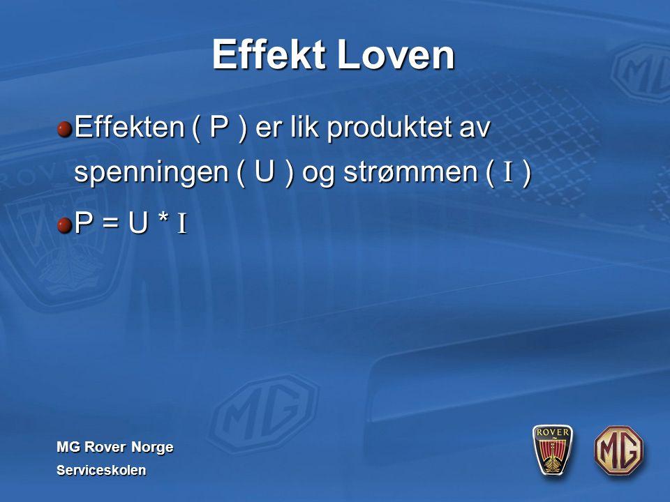 MG Rover Norge Serviceskolen Effekt Loven Effekten ( P ) er lik produktet av spenningen ( U ) og strømmen ( I ) P = U * I